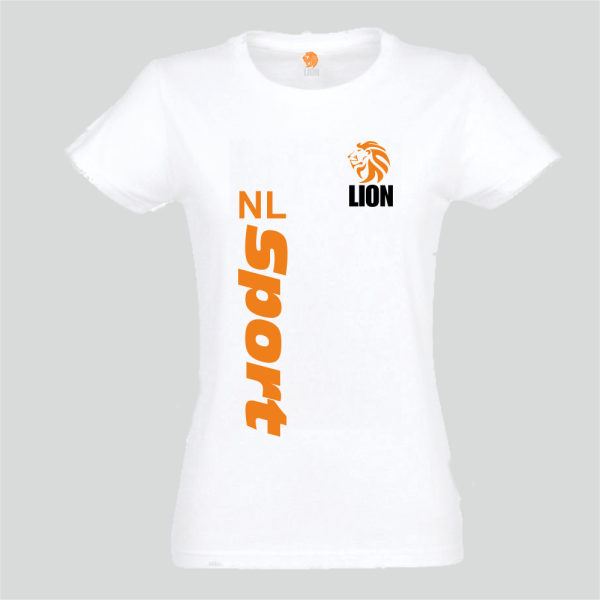 Lion T-shirt dames wit NL Sport