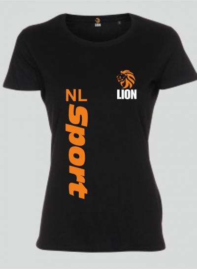 Lion T-shirt dames zwart NL Sport