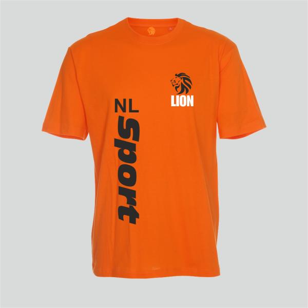 Lion T-shirt heren oranje NL Sport