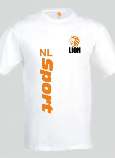 Lion T-shirt heren wit NL Sport