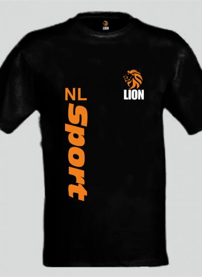 Lion T-shirt heren zwart NL Sport