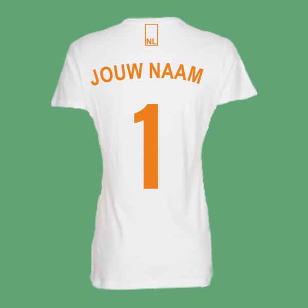 NieuwT-shirt voetbal Nederland dames - wit - achterkant
