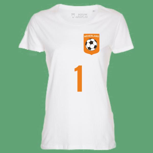 NieuwT-shirt voetbal Nederland dames - wit - voorkant
