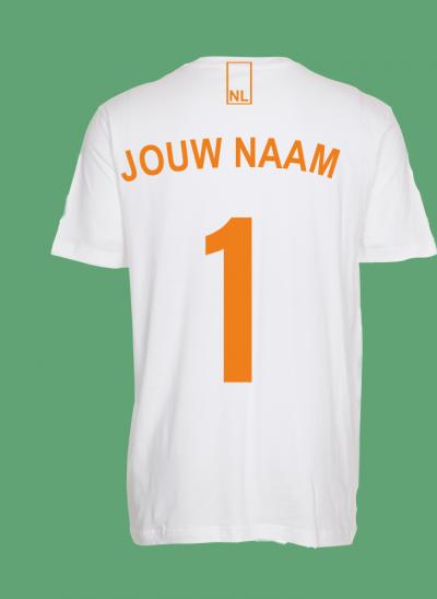 NieuwT-shirt voetbal Nederland unisex - heren - wit - achterkant