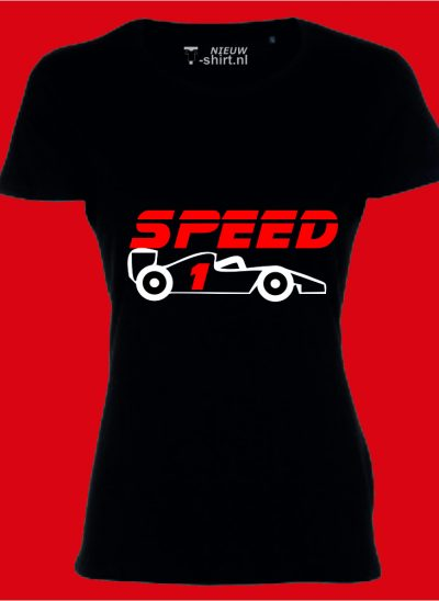 T-shirt Speed formule 1 zwart dames