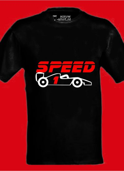 T-shirt speed formule 1 zwart