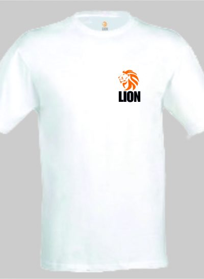 nieuwtshirt.nl Lion T-shirt basic wit - oranje