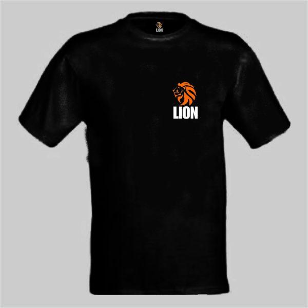 nieuwtshirt.nl Lion T-shirt basic zwart - oranje