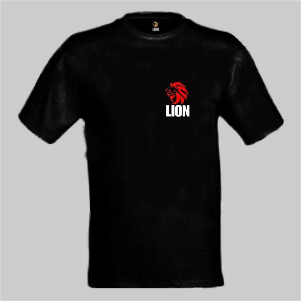 nieuwtshirt.nl Lion T-shirt basic zwart - rood
