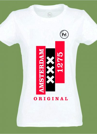 T-shirt Prl T-shirt Amsterdam original wit dames