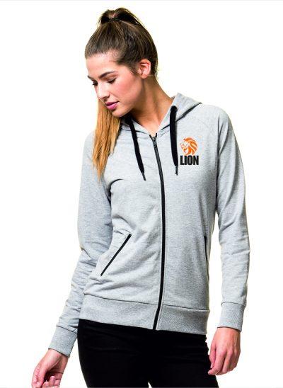 Nieuw T-shirt Lion Sport Hooded Zip ladies oranje leeuw