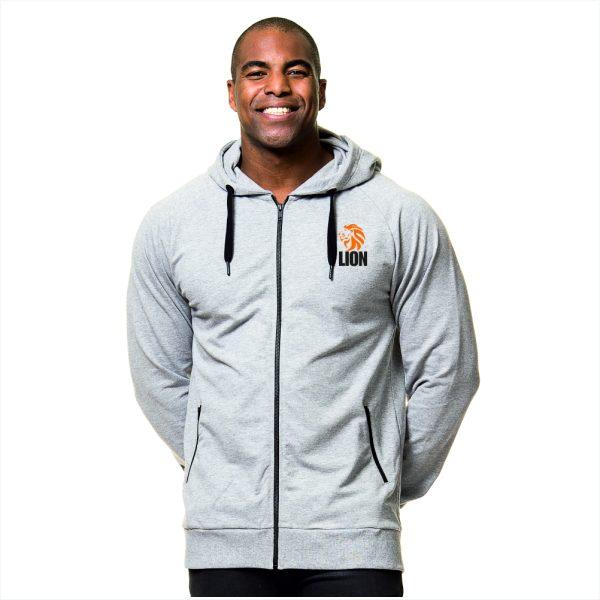Nieuw T-shirt Lion Sport Hooded Zip oranje leeuw - unisex - heren