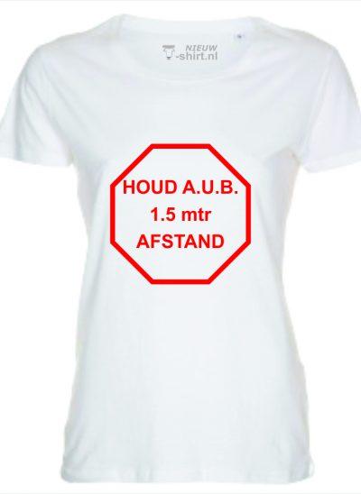 NieuwT-shirt t-shirt met Houd aub 1,5 meter afstand rood