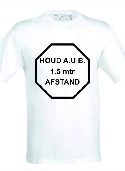 NieuwT-shirt t-shirt met Houd aub 1,5 meter afstand zwart