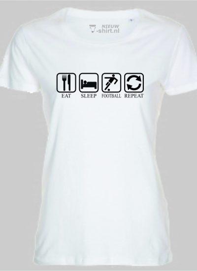 T-shirt Eat Sleep Football Repeat dames - wit