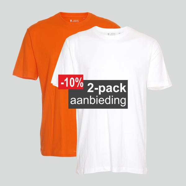T-shirt 2-pack mix oranje en wit regular unisex maten