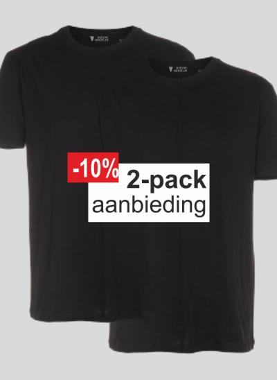 NieuwT-shirt T-shirt 2-pack aanbieding zwart regular unisex