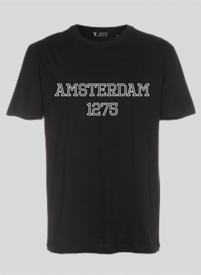 T-shirt Amsterdam university style -zwart regular