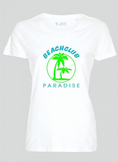 T-shirt beachclub paradise wit dames