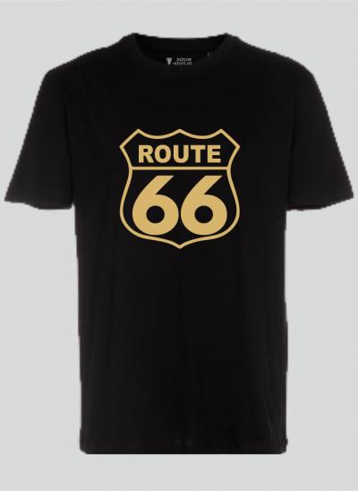 T-shirt americana T-shirt route 66 zwart -sepia regular