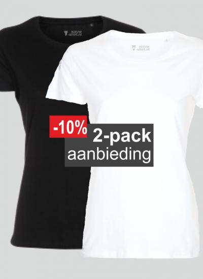 T-shirt duopack mix wit en zwart dames model pure